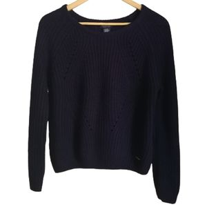 USS POLO ASSN. Navy Oversized Cropped Knitted Crewneck Sweater Size Large